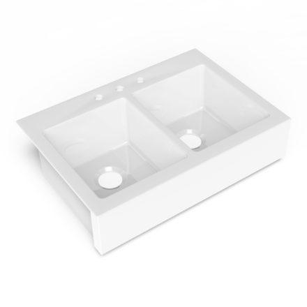 white fireclay farmhouse double bowl kitchen sink
