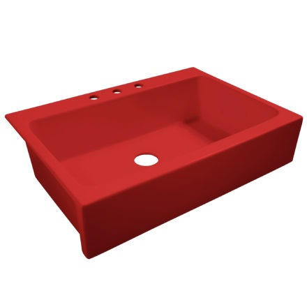 """Gloss Red Fireclay Farmhouse 34"""" Kitchen Sink"""