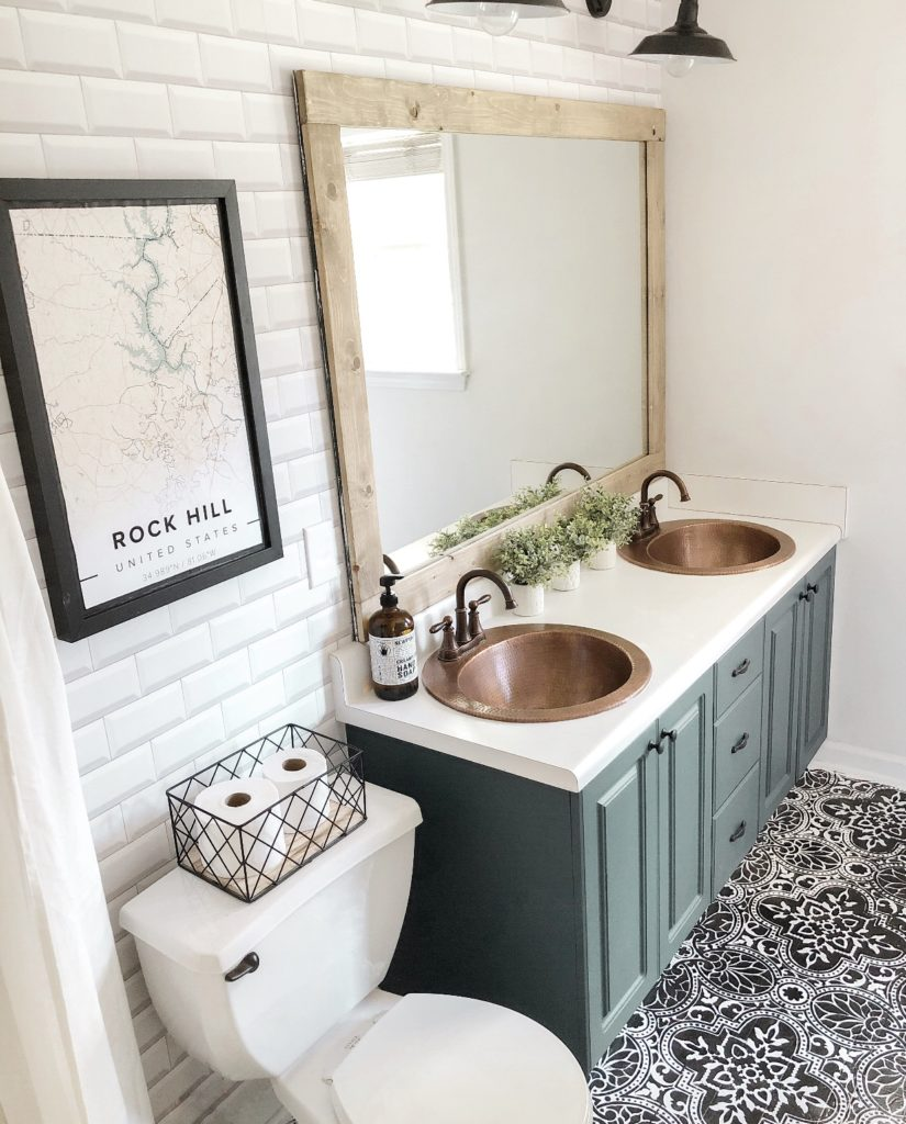 bathroom with two bell copper sinks