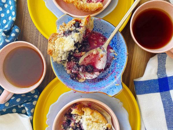 blueberry pie served