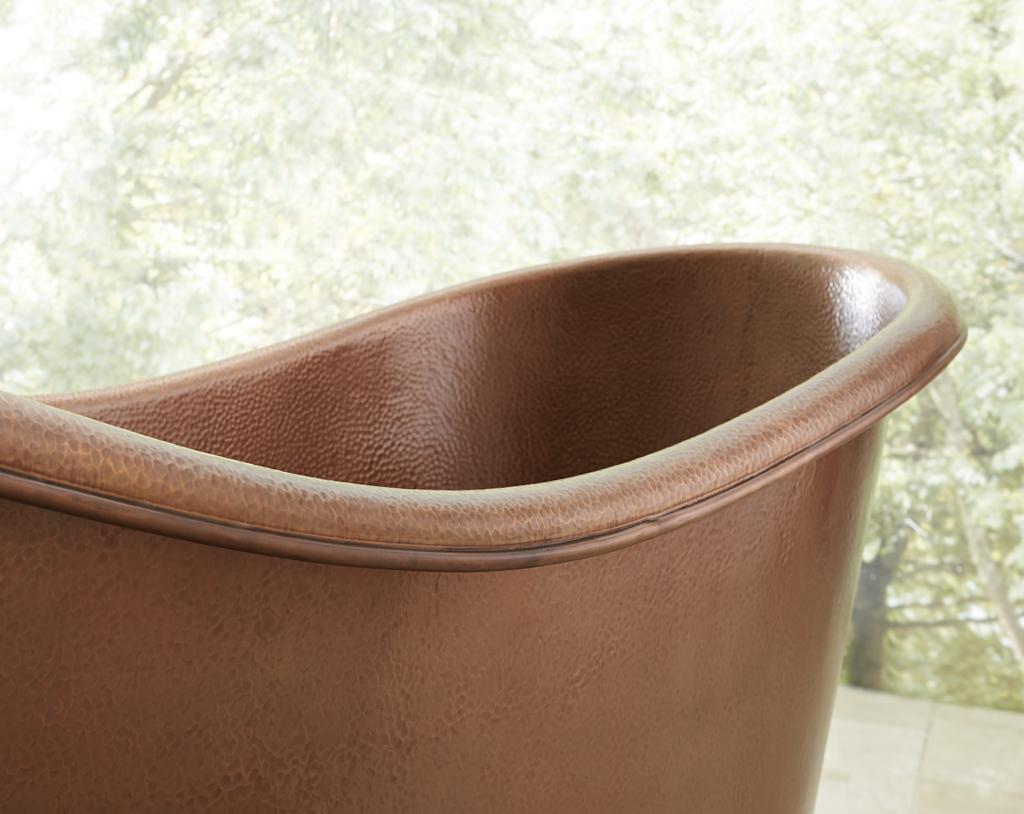 Close up of a copper bathtub