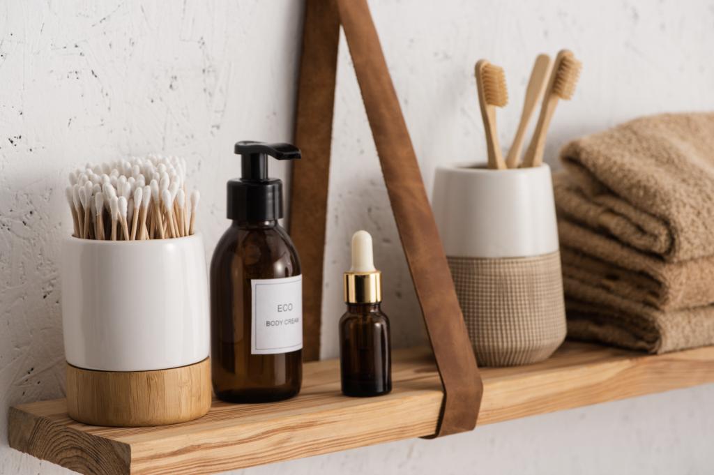 Wood shelf with bathroom accessories