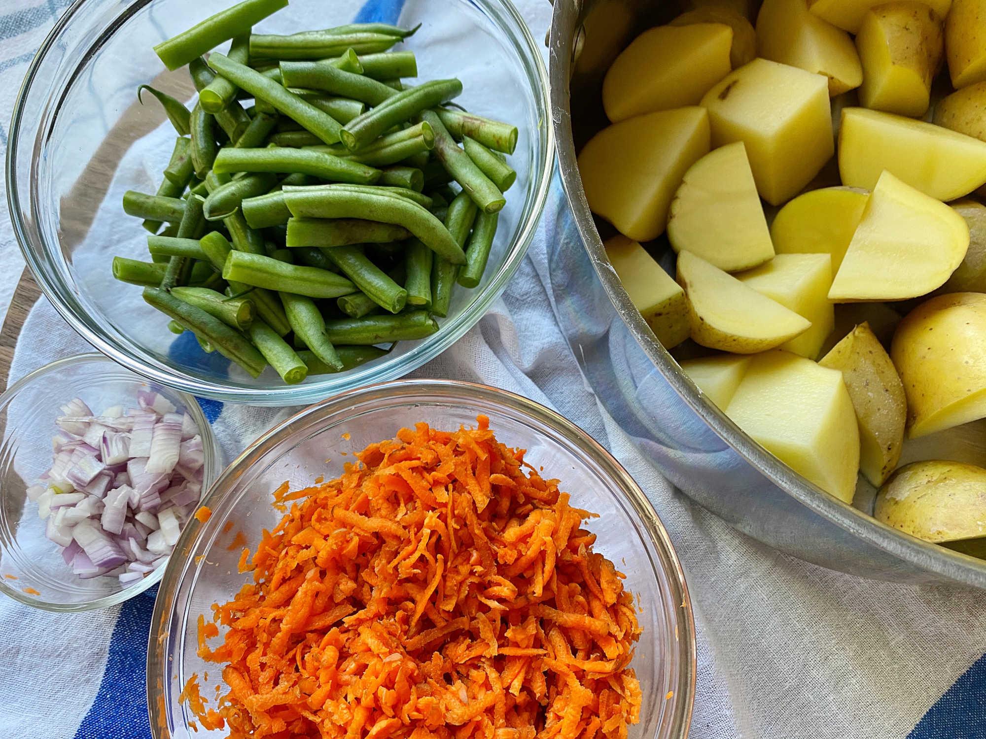 potato salad prepped veggies