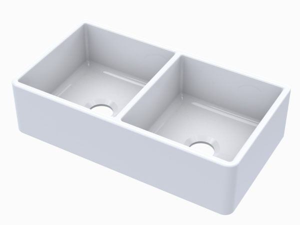 Turner Fireclay Farmhouse Double Bowl Kitchen Sink